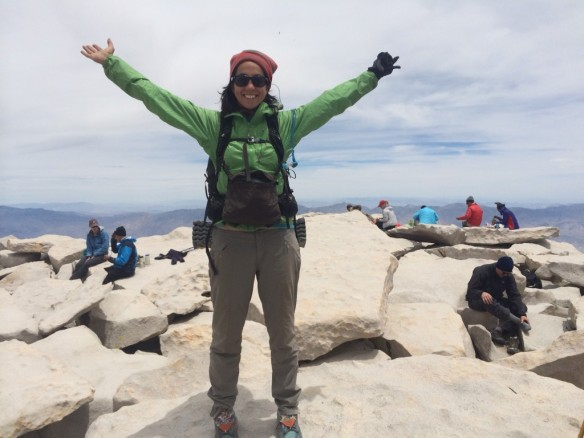 Susan Robb on the PCT, well actually summiting Mt. Whitney!